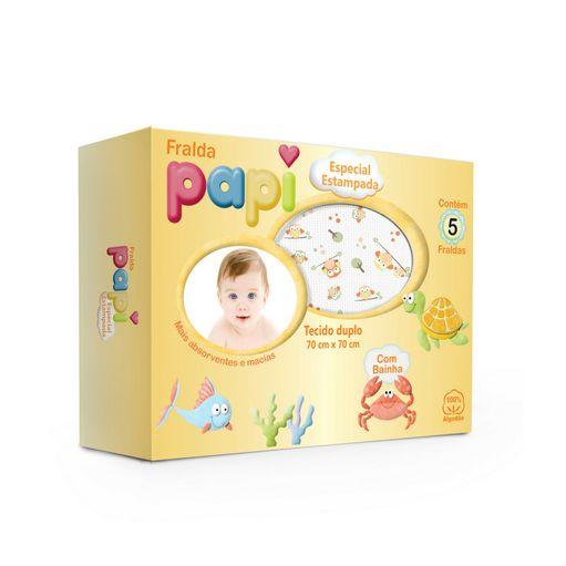 Fralda Papi Especial com bainha estampada 5 unidades 0524