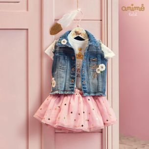 Colete-infantil-Anime-jeans-bordado-flores-MGeGG-L0963
