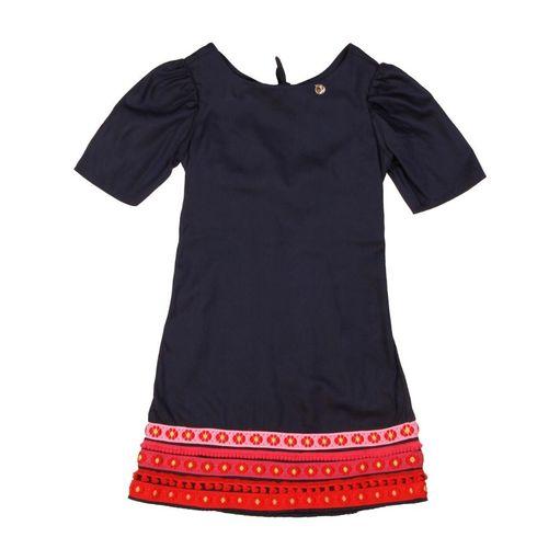 Vestido-infantil-Precoce-manga-bufante-barra-azul-marinho-10a16-LVT2124-