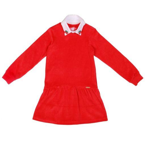 Vestido-infantil-Precoce-plush-vermelho-gola-branca-cerejas-4a8-IVT2071