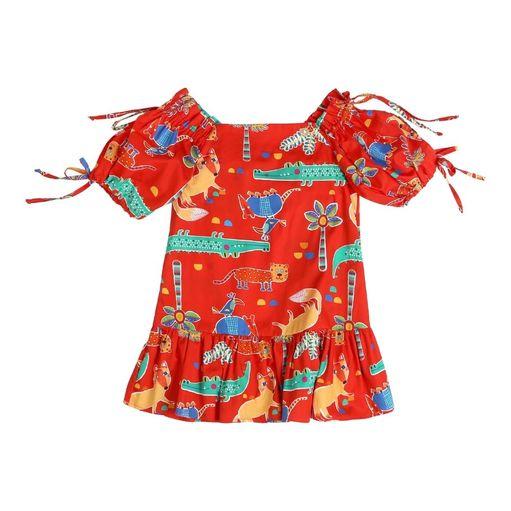 Vestido-infantil-Precoce-laranja-animais-2a4-MVT2226