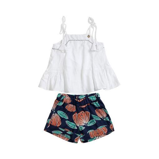 Conjunto-infantil-Precoce-bata-branca-shorts-flor-6a12-ICJ2293